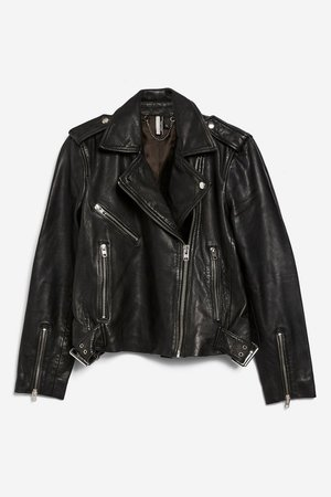 PETITE Black Leather Biker Jacket - Petite - Clothing - Topshop USA