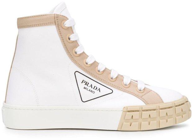 Gabardine hi-top sneakers