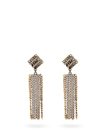 Crystal-embellished chain drop earrings | Alessandra Rich | MATCHESFASHION.COM