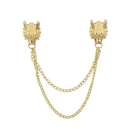 Gold Silver Color Wolf Head Long Chain Collar Brooch Pin   Wish