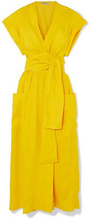 Three Graces London - Clarissa Belted Linen Wrap Dress - Yellow