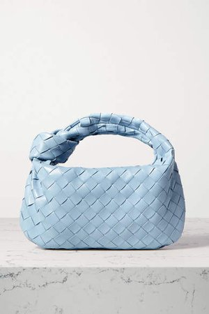 Jodie Mini Knotted Intrecciato Textured-leather Tote - Light blue