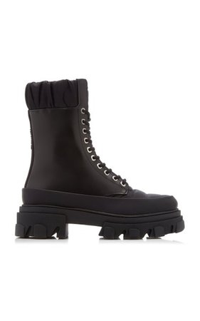 Ruffled Leather Combat Boots By Ganni   Moda Operandi