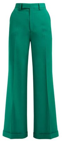 Kick Flared Wool Trousers - Womens - Green