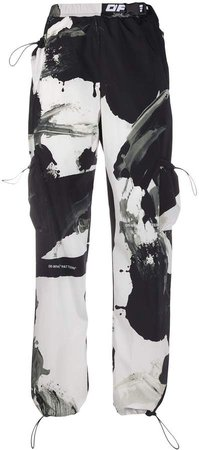 Abstract Print Cargo Trousers