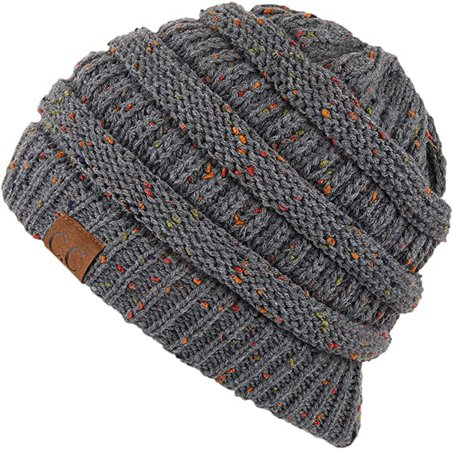 Hatsandscarf CC Exclusives Unisex Ribbed Confetti Knit Beanie (HAT-33) (Black) at Amazon Women's Clothing store
