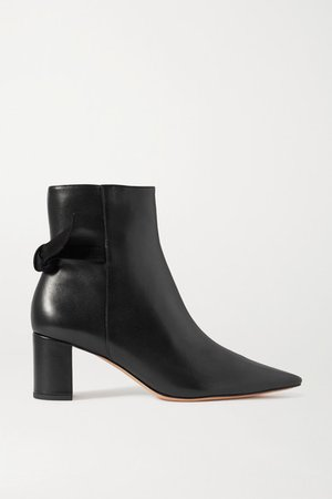 Clarita Bow-embellished Suede-trimmed Leather Ankle Boots - Black