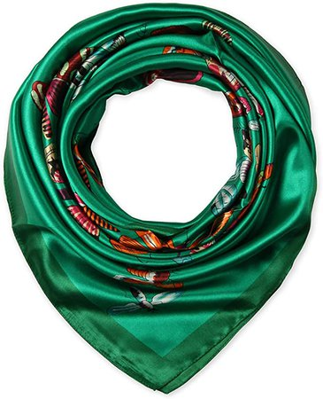 """35"""" Polyester Silk Feeling Square Summer Scarf Smooth Imported Butterfly Dark Green by corciova at Amazon Women's Clothing store"""