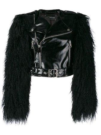Save Manokhi fur sleeved biker jacket - Black