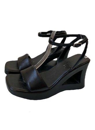 black sandals wedges shoes Y2k 90s