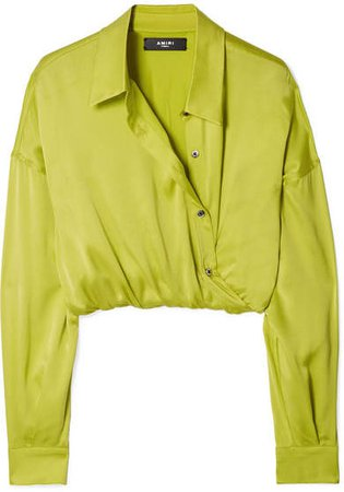 Wrap-effect Cropped Silk-charmeuse Shirt - Yellow