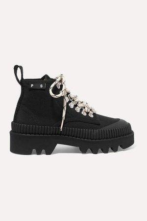 Cotton-canvas Ankle Boots - Black