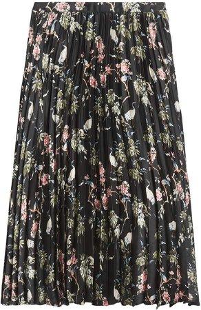 Petite Soft Satin Pleated Midi Skirt
