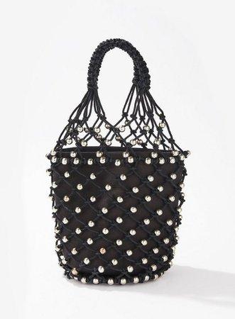 Black Beaded Rope Shopper Bag   Miss Selfridge