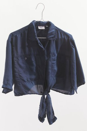Urban Renewal Recycled Silky Tie-Front Blouse | Urban Outfitters