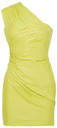 One-shoulder Ruched Leather Mini Dress - Yellow