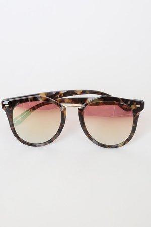 Grey Tortoise Sunglasses - Pink Lens Sunglasses - Sunnies