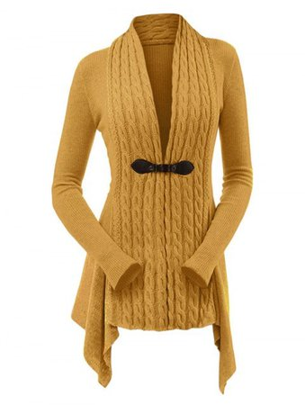 [44% OFF] 2019 Cable Knit Buckle Asymmetrical Cardigan In BEE YELLOW | DressLily