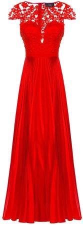 Nissa 3D Floral Lace Pleated Dress