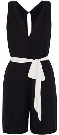 Belted Pleated Crepe Playsuit