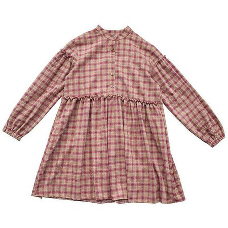 itGirl Shop | COLLAR PLAID GREEN RED FRONT BUTTONS OVERSIZED GIRLY DRESS