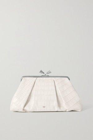 Maud Croc-effect Leather Clutch - White