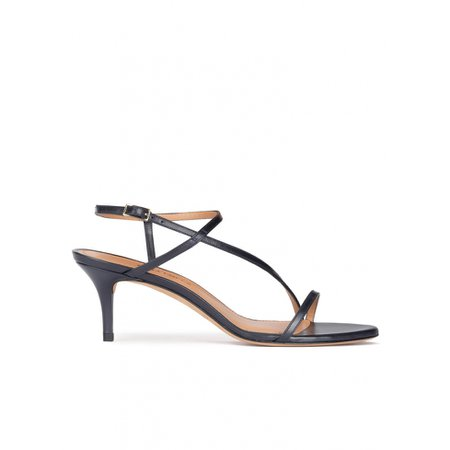 Strappy mid heel sandals in navy blue leather . PURA LOPEZ