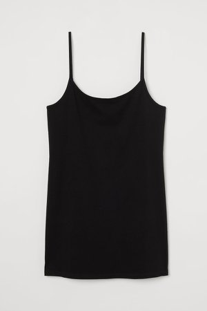 Cotton Jersey Tank Top - Black