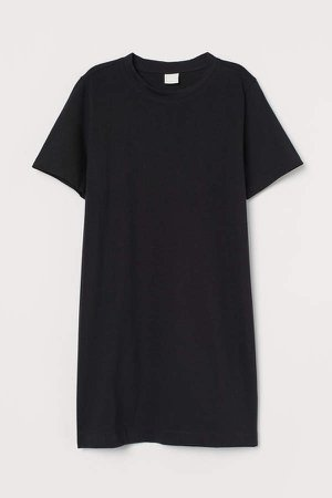 Cotton T-shirt Dress - Black
