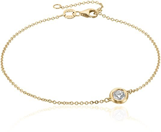 Amazon.com: 14k Yellow Gold Solitaire Bezel Set Diamond with Lobster Clasp Strand Bracelet (1/3cttw, J-K Color, I2-I3 Clarity): Clothing
