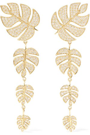 Sydney Evan | Monstera Leaf 14-karat gold diamond earrings | NET-A-PORTER.COM