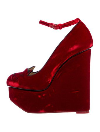 Charlotte Olympia Velvet Kitty Wedges - Shoes - CIO27537 | The RealReal