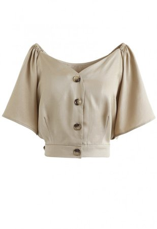 Horn Button Sweetheart Neck Bowknot Crop Top in Tan - NEW ARRIVALS - Retro, Indie and Unique Fashion