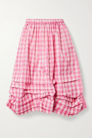 Gathered Gingham Shell Midi Skirt - Pink