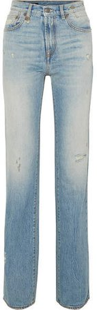 Colleen Distressed High-rise Straight-leg Jeans - Light denim