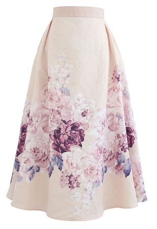 Lavender Peony Print Embossed Midi Skirt - Retro, Indie and Unique Fashion