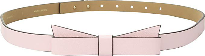 """Amazon.com: Kate Spade New York Women's 3/4"""" Pebble Leather Bow Belt Pastry Pink LG: Clothing"""