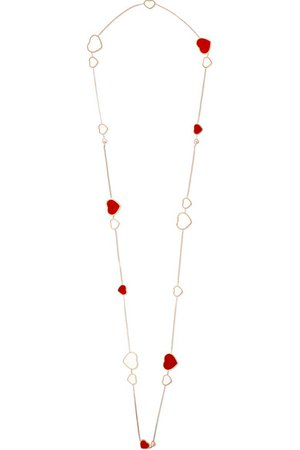 Chopard | Happy Hearts 18-karat rose gold, diamond and red stone necklace | NET-A-PORTER.COM