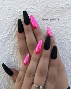 Pink and black coffin nails