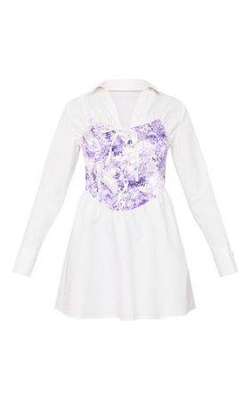 White Lace Up Porcelain Corset Waist Long Sleeve Shirt Dress
