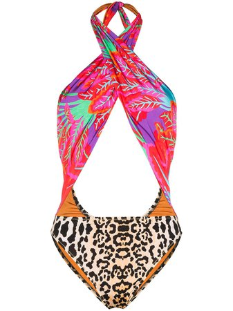 Reina Olga Italian Stallion Cutout Printed Swimsuit - Farfetch