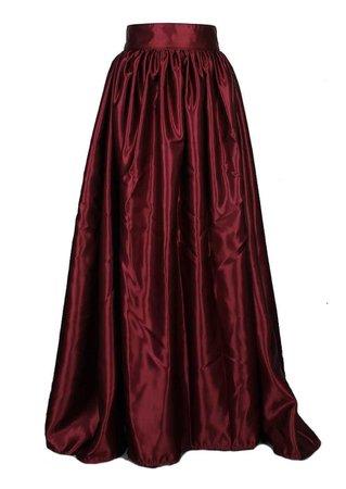 Long Burgundy Satin Skirt