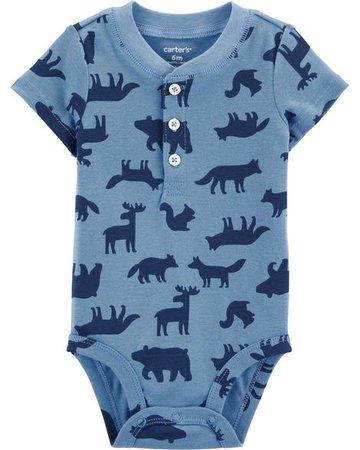 Baby Boy Woodland Creatures Henley Bodysuit | Carters.com