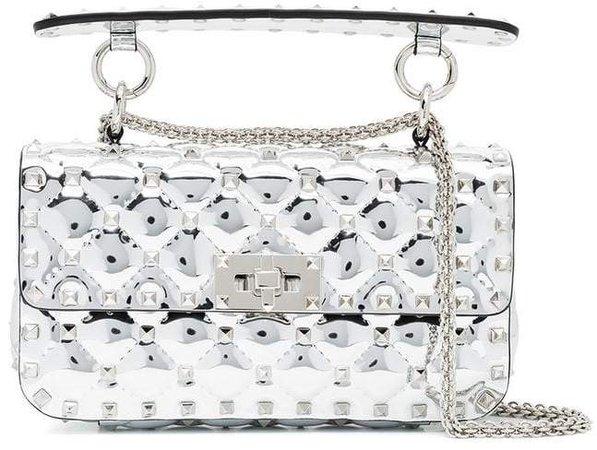silver metallic rockstud spike small leather shoulder bag