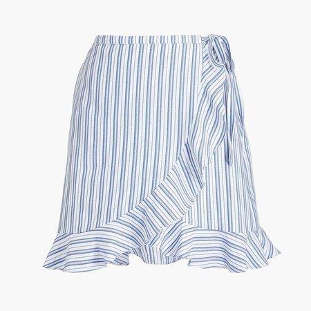 Textured stripe faux-wrap mini skirt