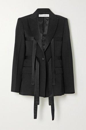 Black Satin-trimmed wool-twill blazer | JW Anderson | NET-A-PORTER