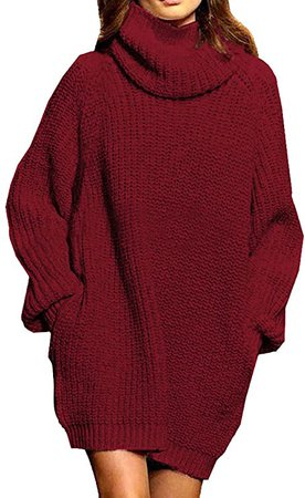 Pink Queen Women's Loose Turtleneck Oversize Long Pullover Sweater Dress Coffee M at Amazon Women's Clothing store
