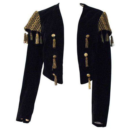 20s Black Velvet Matador Bolero Jacket with Gold Metal Tassels and Embroider For Sale at 1stdibs
