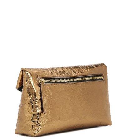 Crinkled Metallic Leather Clutch - Dries Van Noten | Mytheresa
