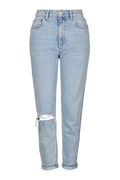 MOTO Bleach Rip Mom Jeans